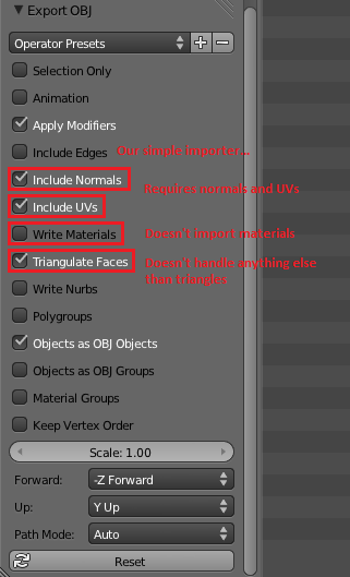 "Ticked checkboxes in Blender's ""Export OBJ"" dialog"